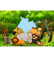a zoo keeper with animals vector image
