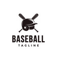 baseball logo with crossed wooden bat and helmet vector image vector image