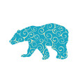 bear wild color silhouette animal vector image