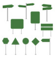 big set green stop signs and traffic sign vector image vector image
