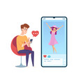 boy in love man like post in social media video vector image vector image