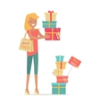 Buying Gifts on Sale in Flat Design vector image