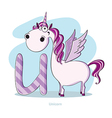 Cartoons Alphabet - Letter U with funny Unicorn vector image