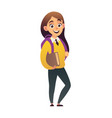 character little beautiful schoolgirl with book vector image