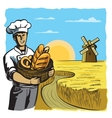 chef and bakery vector image vector image