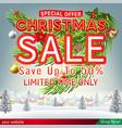 christmas sale banner winter village background vector image vector image