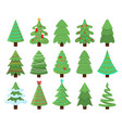 decorated xmas trees new years tree with heralds vector image