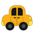 drawing a yellow toy car set on isolated white vector image vector image