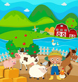 Farm theme with farmer and farm animals vector image
