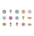 flower nature decoration icons set flat style vector image