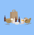 food take away with beer vector image vector image