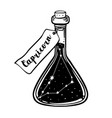 glass bottle with zodiac capricorn constellation vector image vector image