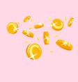 gold coins falling down concept vector image