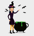 halloween card with witch disguise and cauldron vector image vector image
