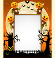 halloween sign with kid wearing pumpkin mask vector image vector image
