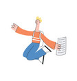 happy teen man student jumps with paper vector image vector image