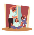 healthy family sport and exercising meditation vector image