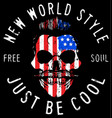 hipster skull with usa flag vector image vector image