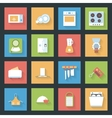 Kitchen flat icons set vector image