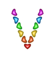 Letter V made of multicolored hearts vector image