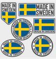 made in sweden label set with flag made in sweden vector image vector image