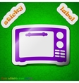 Microwave oven icon sign Symbol chic colored vector image