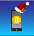 mobile phone bitcoin christmas payment concept vector image vector image