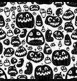 monochrome halloween seamless design pattern vector image