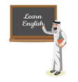 muslim teacher standing in front of blackboard vector image