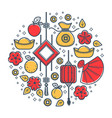oriental holiday symbols chinese new year vector image