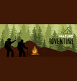 people in forest mountain camp for eco tourism vector image