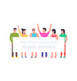 people with banner vector image