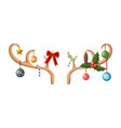 reindeer antler with balls bow holly vector image vector image