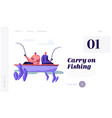 relaxing men fishing in boat on lake or river vector image