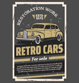 retro old cars for sale or restoration work poster vector image vector image