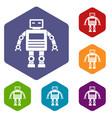 robot icons set hexagon vector image vector image
