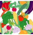 seamless pattern with hand drawn vegetables farm vector image