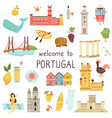 set portuguese icons landmarks elements animals vector image