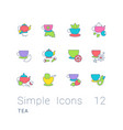 set simple line icons tea vector image vector image
