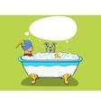Superhero takes a bath comic vector image vector image
