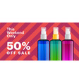 trendy cosmetic products banner with essence vector image