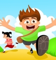 Two happy kids running to school vector image