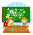 two kids writing on board in classroom vector image vector image