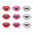 Vampire mouth vampire teeth labels set vector image vector image