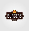 vintage burger logo or signs for food company vector image
