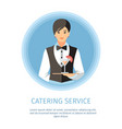 waitress serving cocktail glass banner template vector image vector image