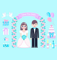 wedding set on blue background vector image