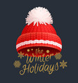 winter holidays knitted red hat with white pom-pom vector image vector image