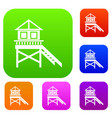 wooden stilt house set collection vector image vector image