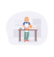 young woman knead dough on table in kitchen vector image